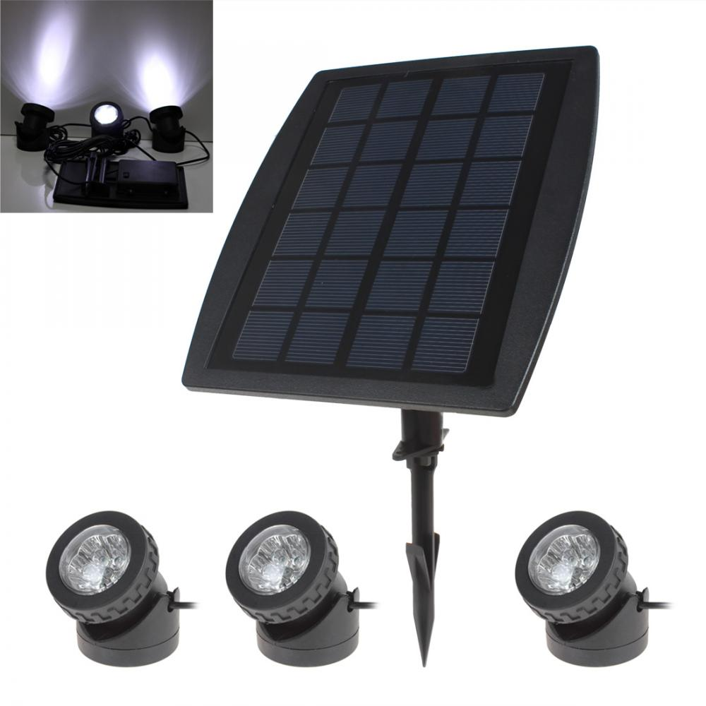 BSV-SL318 3 x 6 White Light LEDs Waterproof Adjustable Solar Powered Garden Lamp + 1 x Solar Panel