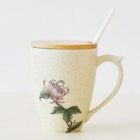 Simple literary fan ceramic cup set custom water cup Meilan bamboo chrysanthemum mug with lid spoon coffee cup lo919450