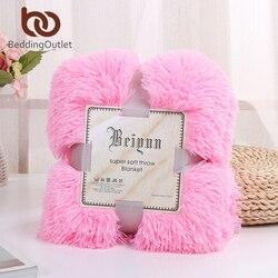 Manta de cama bordada de felpa suave manta decorativa de piel sintética mullida de colores para sofá