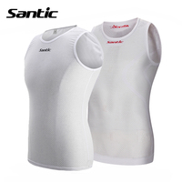 Santic Cycling Jersey White Breathable Quick Dry Mesh Cycling Vest Sleeveless Bike Bicycle Underwear Winter Cycling