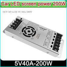 Car LED screen power lavalee ASD 12D5N40A200DT,DC9~36V to 5V40A 100w,LED display Ultra thin power supply,P3 P6 P10 LED display