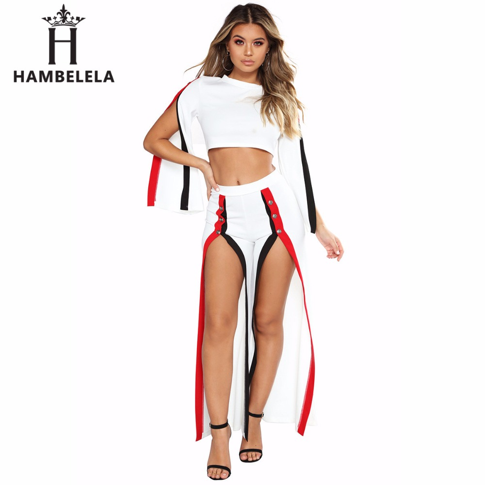 HAMBELELA Sexy Side Striped Buttons Two Pieces Set 2017 Women O Neck Short Pullover Crop Tops And Loose Long Pants Tracksuit