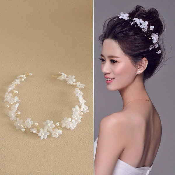 Dower me romantic white chiffon flower wedding headband handmade dower me romantic white chiffon flower wedding headband handmade bridal headpiece bridesmaid hair vine mightylinksfo