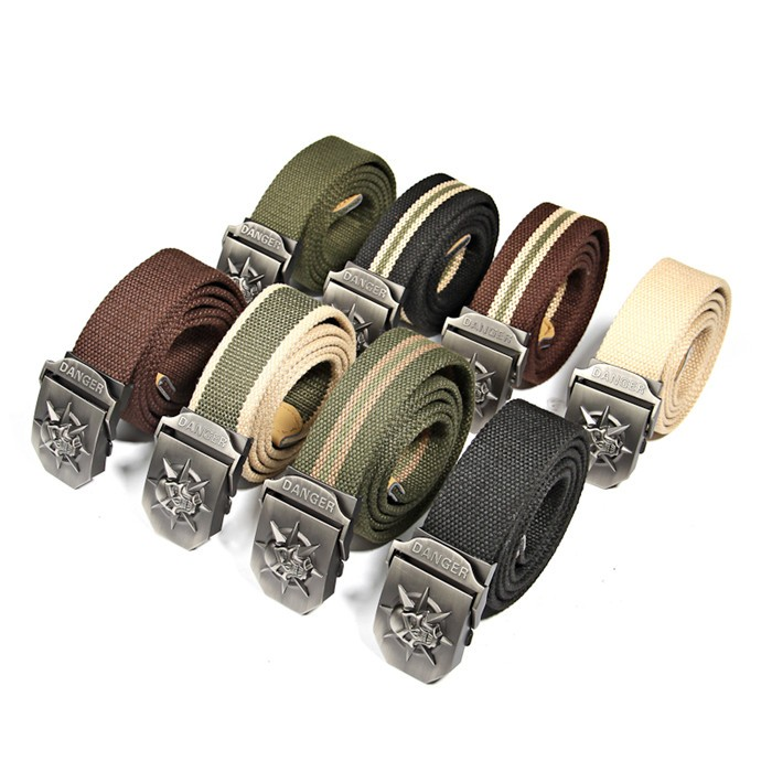 Fashion men's Canvas belt skull Metal tactics woven belt canvas belt Casual pants Cool wild gift for men belts Skull large size 9