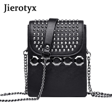 JIEROTYX Small Woman Crossbody Bag Metal Rhinestone Shoulder Leather Girls bags Fashion Relaxation Party Business General