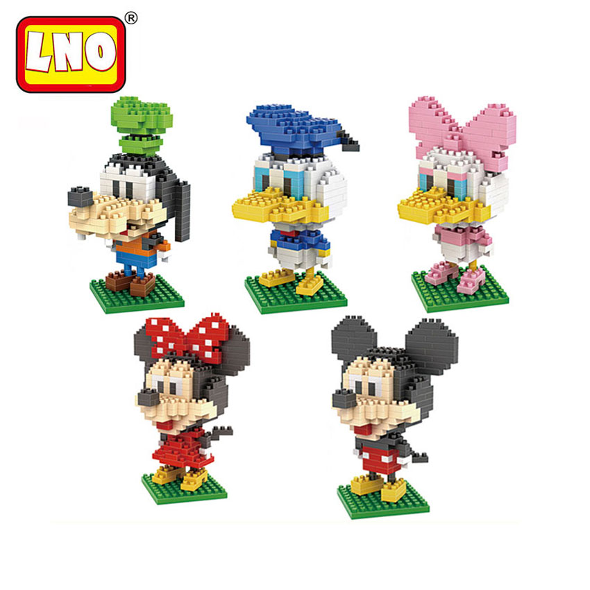Full Set 5 Styles LNO Building Blocks Mickey Minnie Duck Family Japanese Cartoon Anime Figures Toys Diamond Bricks Diy Kid Model