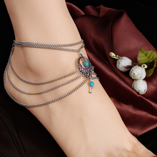 Splendid Boho Turquoise Beads Anklet Tassels Chains Barefoot Ankle Bracelet Foot Jewelry  52H3
