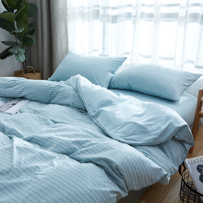 Beautiful 100% Cotton 4pcs Light Blue Stripe Duvet Cover Set Superb Jersey Knitted  Bedding Sets Queen Size In Bedding Sets From Home U0026 Garden On  Aliexpress.com ...