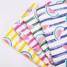 Various Colors 50x40CM Cotton Twill Fabric Patchwork Quilting DIY Material Cloth Watermelon Stripe Printing