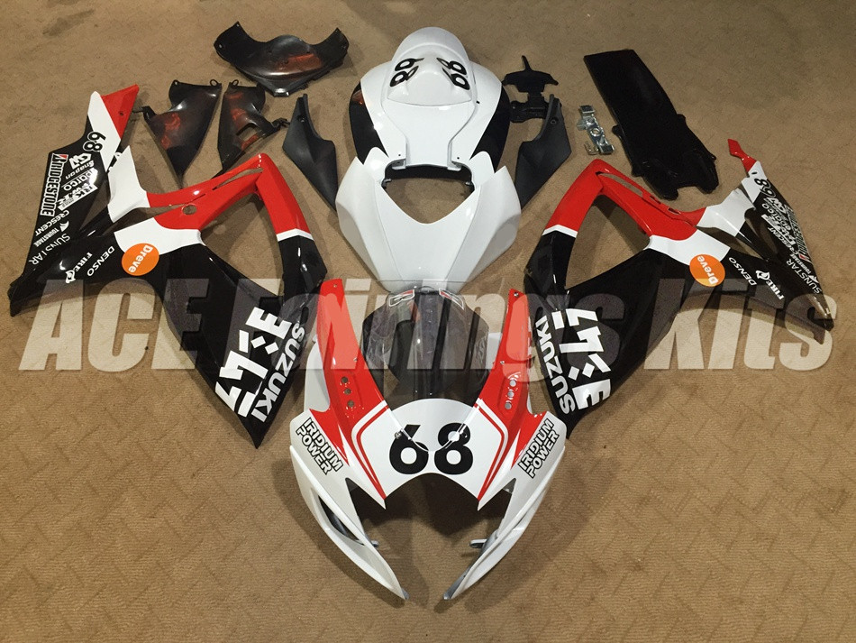 New ABS <font><b>Fairings</b></font> <font><b>Kit</b></font> set Fit For <font><b>SUZUKI</b></font> GSXR600 GSXR750 06 07 R600 R750 K6 <font><b>GSXR</b></font> <font><b>600</b></font> 750 2006 2007 custom red black white 68 image