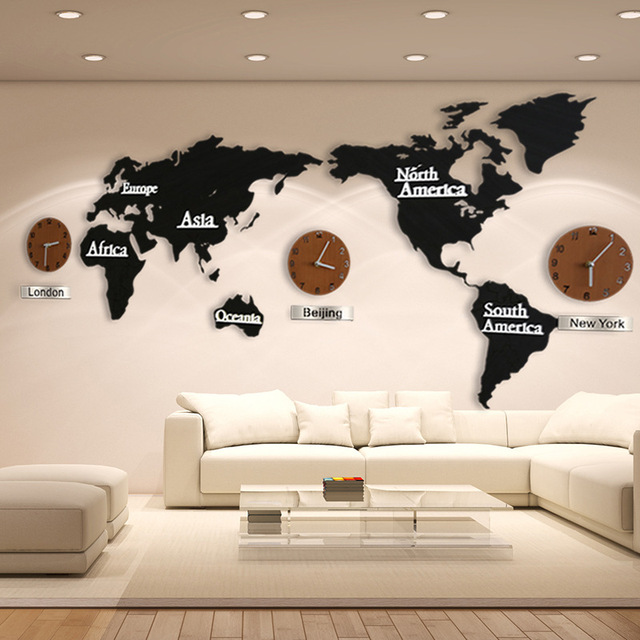 New Wooden World Map Wall Clocks Creative 3d World Map Decorative