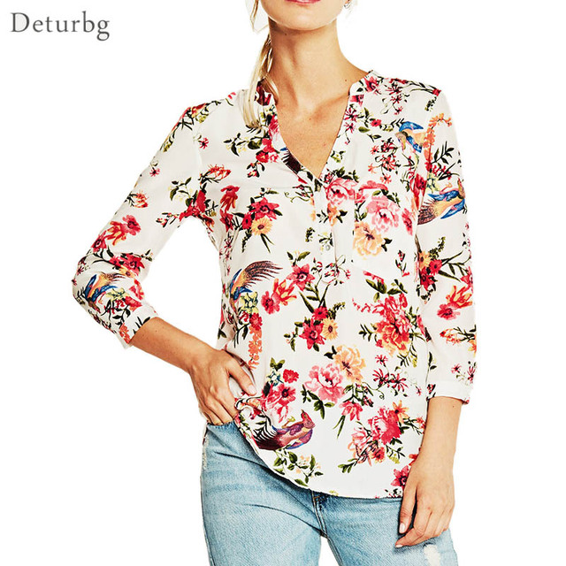 5ca1a30d65360 Womens Brief Red Flower Printed Blouse Ladies Casual 3 4 Sleeve V Neck  Chiffon Shirts Tops Blusas 2018 Spring Autumn Br383