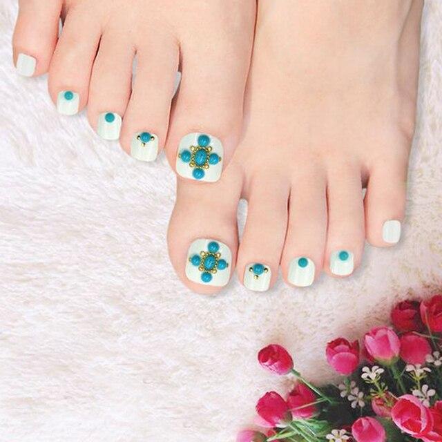 24pcs\\set 3D Fake Toe Nails UV Artificial False Art Toenails White ...