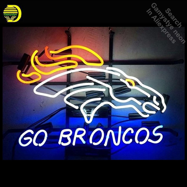 Neon Sign for Go Broncos neon bulb Sign Horse Beer Pub Neon lights Sign glass Tube Sports Iconic Advertise Night Light Display