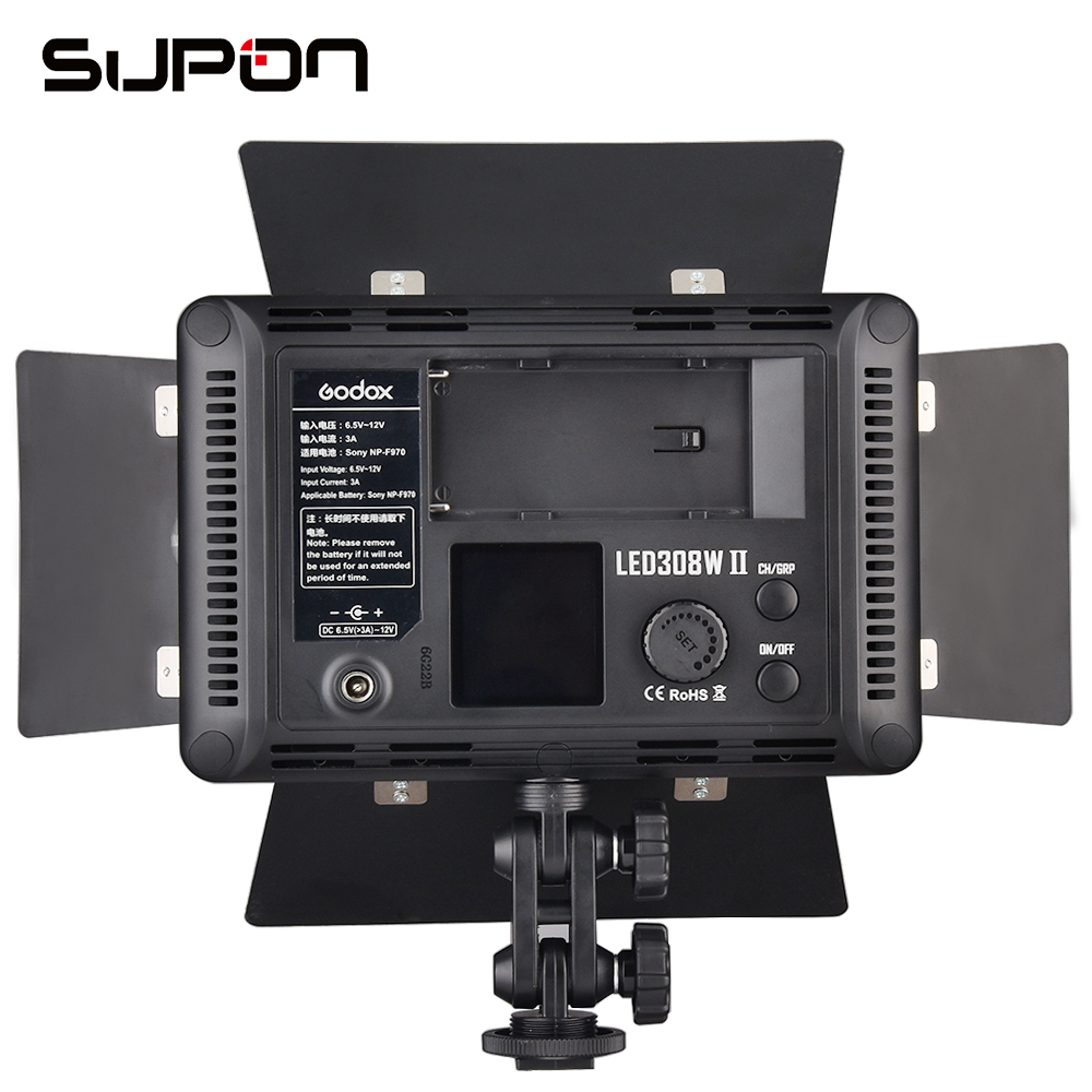 NEW Godox LED 308W II White Light 5600K LED Video Light Lamp + Remote Control For DV Camcorder Camera+ +AC Adapter Kit