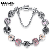 ELESHE Original Pink Enamel Flower Silver Bracelet & Bangle with Crystal Beads Charm Bracelets for Women DIY Fashion Jewelry(China)