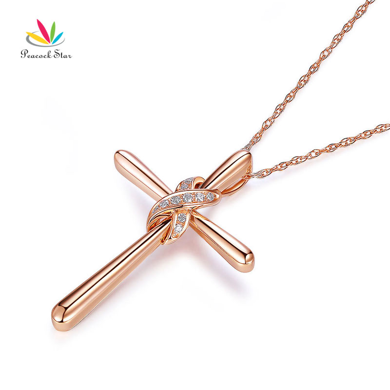 Peacock star 14k rose gold cross pendant necklace 057 ct diamonds peacock star 14k rose gold cross pendant necklace 057 ct diamonds in pendants from jewelry accessories on aliexpress alibaba group aloadofball Choice Image