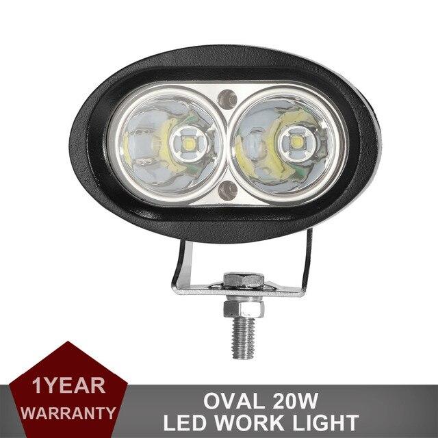 20 W Oval LED Trabalho Light Offroad Car Auto Truck ATV Motocicleta reboque Da Bicicleta 4WD AWD 4x4 Mancha Flood luz de Nevoeiro Driving Farol
