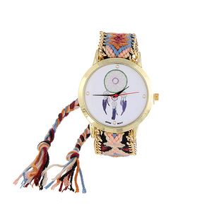 Image 4 - ZHINI Watches Stripe Handwoven Strap Wrist Relojes Vintage Wind Pattern Decorated Hand woven Strap Design Fabric Ladies Watches