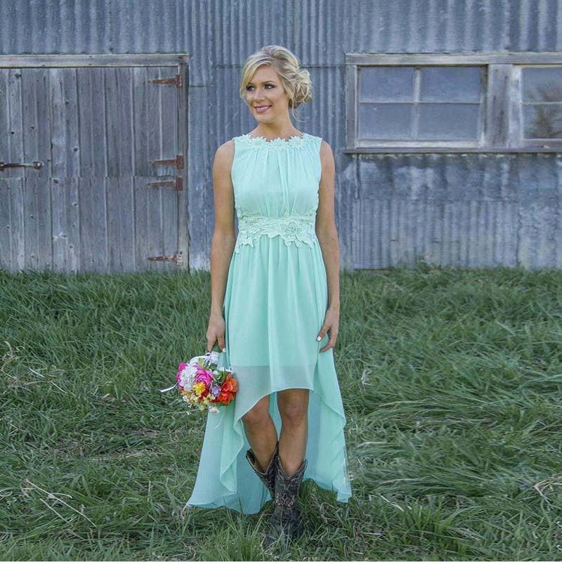 138b00c919f4c Simple 2016 High Low Chiffon Bridesmaid Dresses With Appliques Sky Blue  Peach Color Long Formal Dress To WQedding Open Back -in Bridesmaid Dresses  from ...