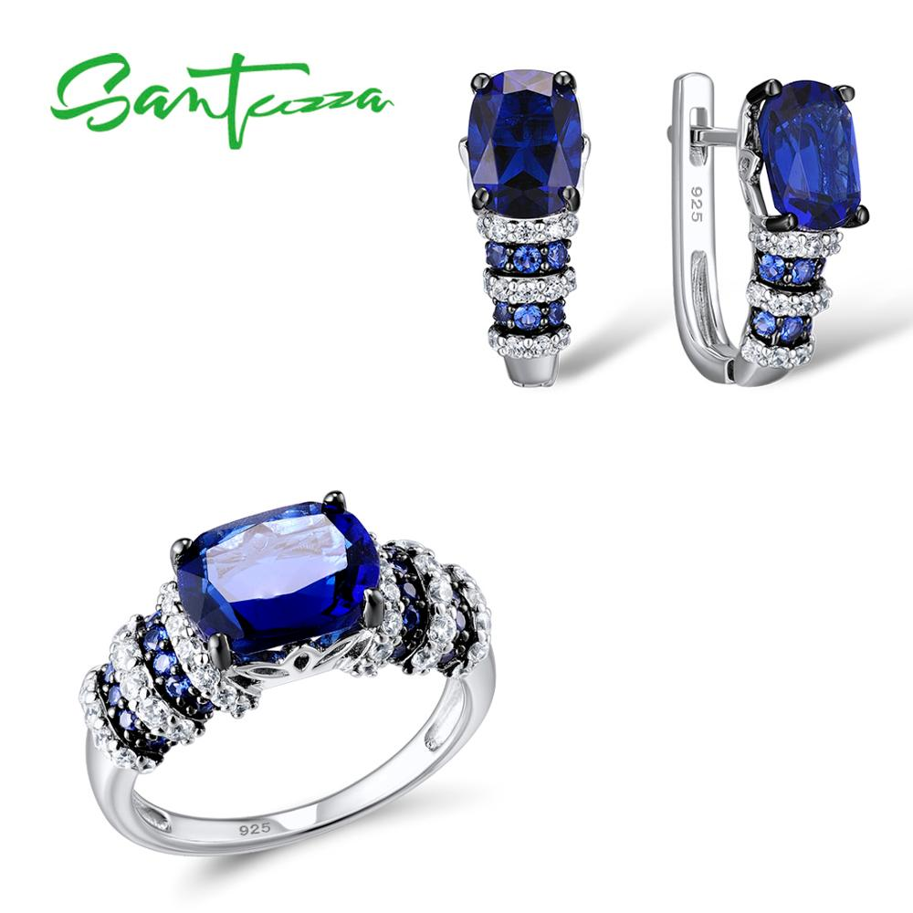 SANTUZZA Silver Jewelry Set Bridal Wedding Jewelry Set Blue CZ Stones Ring Earrings Pendant Set 925