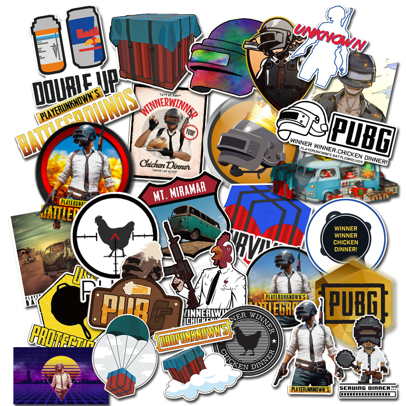 29 pcs Mixed funny 2018 stickers for kids Home decor waterproof on laptop sticker PUBG Game Poster Winner Winner Chicken Dinner new arrival for lexus rx200t rx450h 2016 2pcs stainless steel chrome rear window sill decorative trims