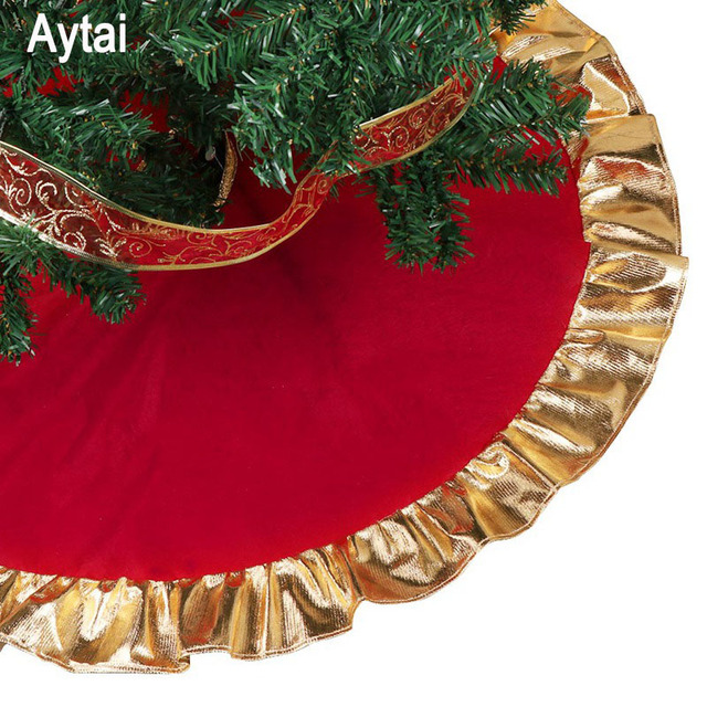 aytai 90cm red christmas tree skirt golden edge gold ruffle bow cover base decoration xmas tree - Cheap Christmas Tree Skirts