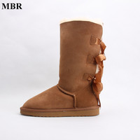 MBR Fashion Women Lace Up Winter High Snow Boots Real Sheepskin Leather Nature Fur Lined Winter