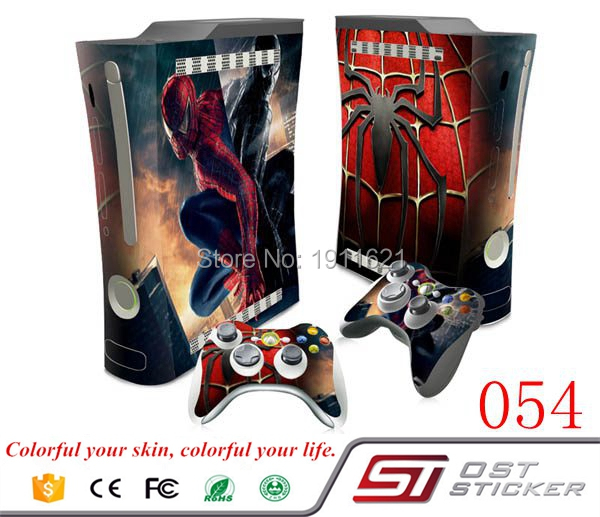 OSTSTICKER Siper Man Vinyl Skin Full Set Skin Stickers For Xbox 360 fat Console 2 Controllers Skin Cover Decal