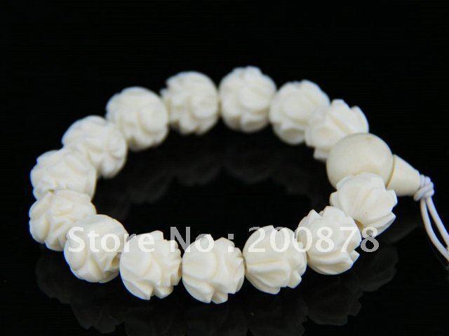 Bb-192 tíbet hueso de buey blanco tallado Lotus tramo pulsera de cuentas, 14 mm, envío gratis, no MOQ