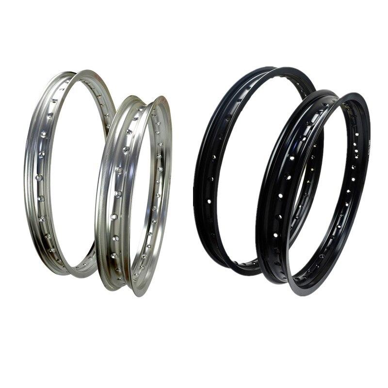 6061 Front + Rear Motorcycle Rims Aviation Aluminum Wheel Circle 2.15x18 & 1.60x21 36 Spoke Hole High Strength Black / White Rim