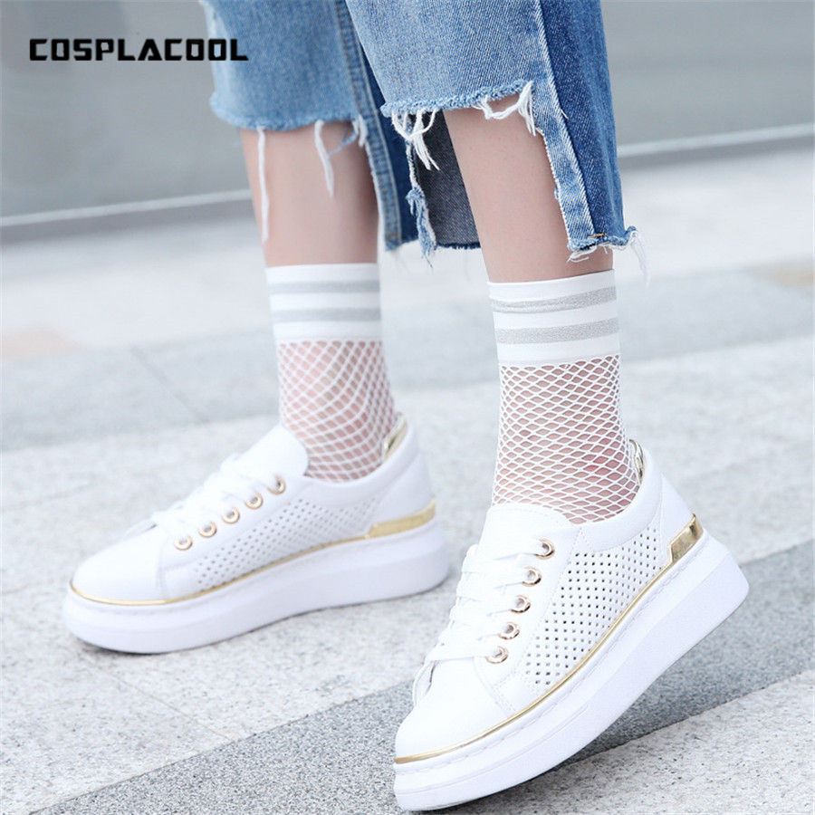 Fashion Women Black Hollow Sexy Fishnet   Socks   Black/White Glitter Stripes Cool Net   Socks   Europen Harajuku Funny Sox