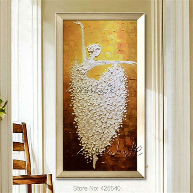 Canvas painting Ballet Dancer acrylic painting Wall art Pictures for living room Home decor Palette Knife cuadros Decoracion 01
