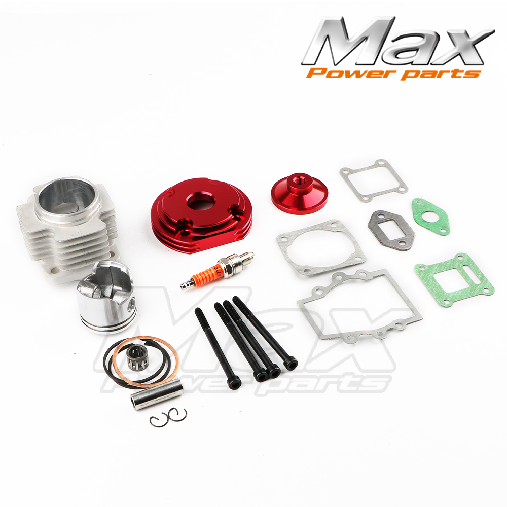 2 Stroke Engine Cylinder Red 44mm Accessory Racing Big Bore 53cc 54cc Top Kit Piston 49cc 2stroke Engine Pocket Bike Motorcycle