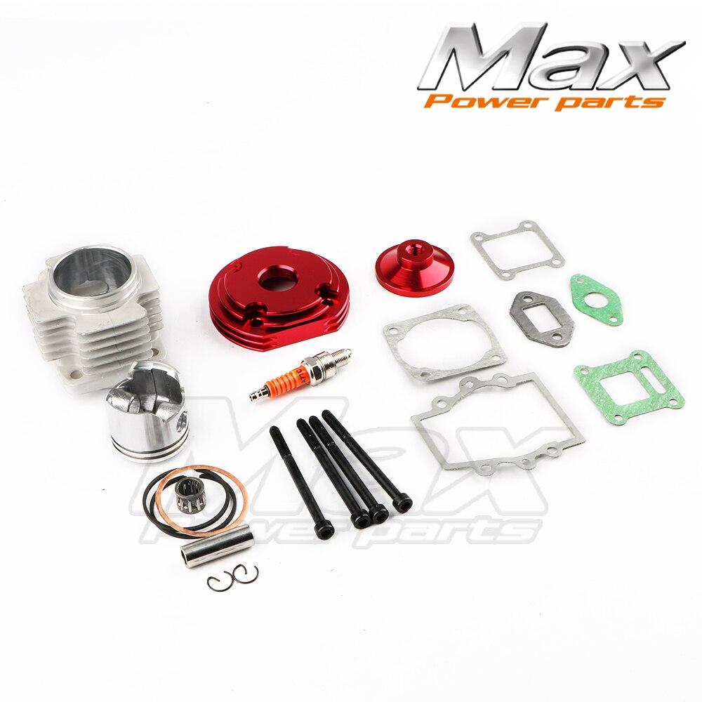 2 temps moteur cylindre rouge 44mm accessoire course grand alésage 53cc 54cc haut Kit Piston 49cc 2 temps moteur poche vélo moto