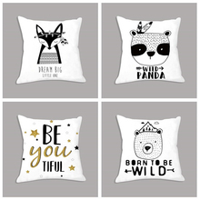 Simple Geometric Motivational Quotes Nordic Cushion Cover Bear Panda Poster White Decorative Pillows Pillowcase For Sofa