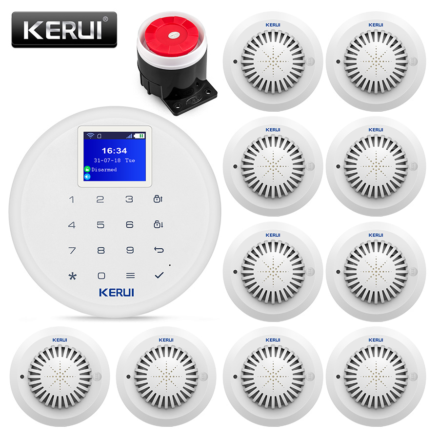 KERUI W17 Wireless WiFi GSM Alarm System Home Warehouse Security Fire Smoke Protection Multiple Language IOS Android APP Control kerui g19 android ios app control home security gsm alarm wireless remote control with fire smoke detector
