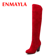 ENMAYLA Fashion High Heels Long Boots Women Flock Round Ladies Knee High Boots Shoes Woman Winter Faux Suede Black Red Boots asumer fashion new arrive women boots black flock ladies boots zipper embroider super high shoes platform knee high boots