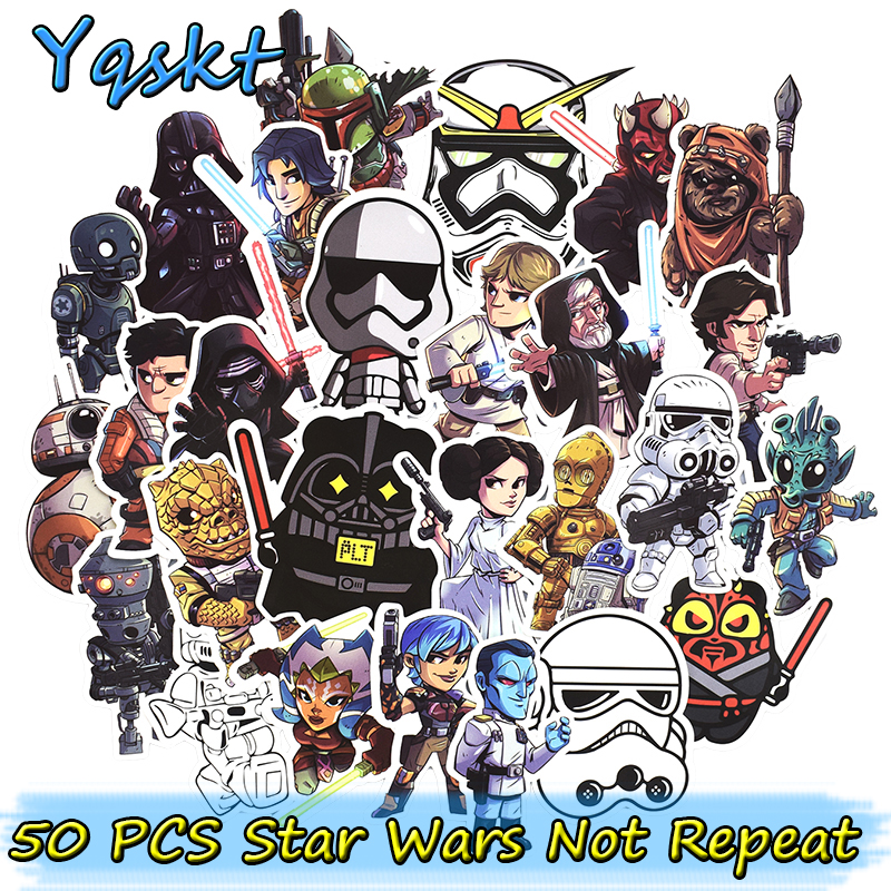 New 50 Pcs Star Wars Cool Stickers for Laptop Luggage skateboard Car Styling refrigerator Funny Graffiti Decals Cool DIY Sticker