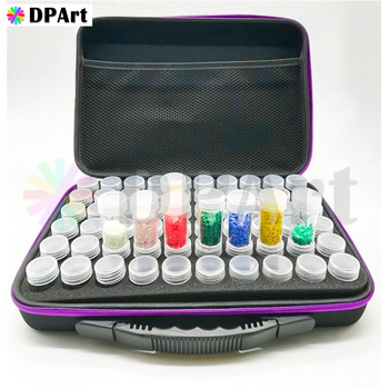 Caja de pintura de diamante de 60 botellas contenedor de almacenamiento cuadrado completo estuche protector de transporte bolsa con cierre de mano resistente a golpes M666