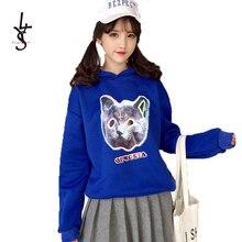 Women Solid Blue Print 3D Cat Letter Full Sleeve Femme Pullovers Hoodies 2019 Ho