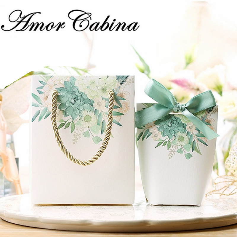 30pcs Wedding party creative green flower printing candy box packaging bag with handle packaging jewelry Christmas