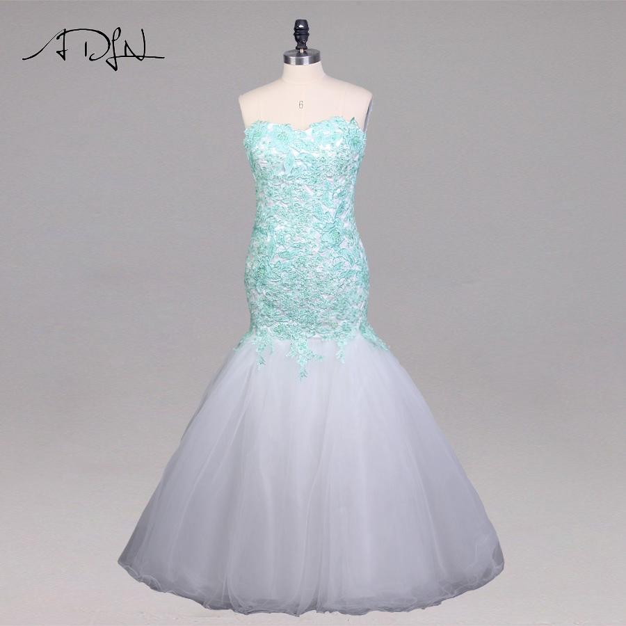 ADLN Contrast Color   Prom     Dress   Sweetheart Sleeveless Applique Tulle Mermaid Evening Party Gowns Custom   Prom     Dresses