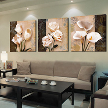 No Frame 3 Panels Oil Canvas Paintings Flowers Home Decoration Canvas Wall Painting Flower Decorative Wall Pictures Retro Flower