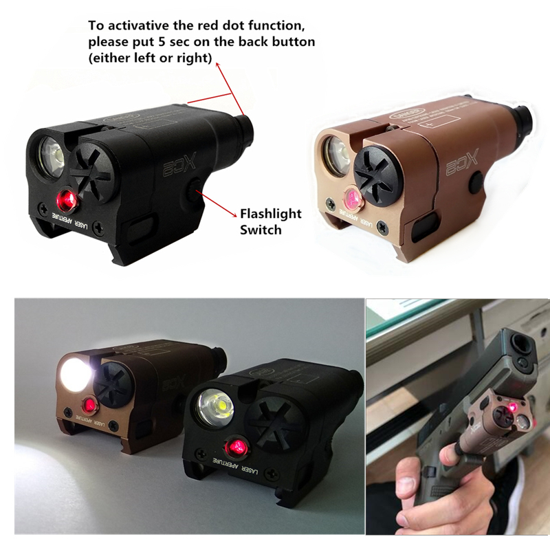 SF Laser Light Compact Pistol Flashlight With Red Dot Laser Tactical LED MINI White Light 200