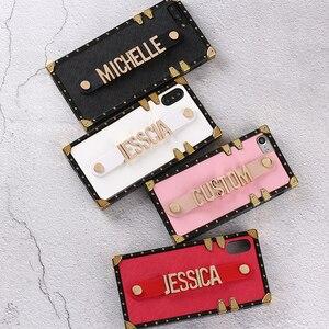 Image 2 - Custodia per baule in pelle personalizzata con cinturino in metallo dorato nome personalizzato custodia per telefono per iPhone 12 11 Pro XS Max XR 7 7Plus 8 8Plus X