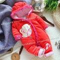 2016 зима девочка боди восхождение хлопка одежда для новорожденных малышей младенческой флис хлопок-проложенный Птицы pattern детские комбинезоны