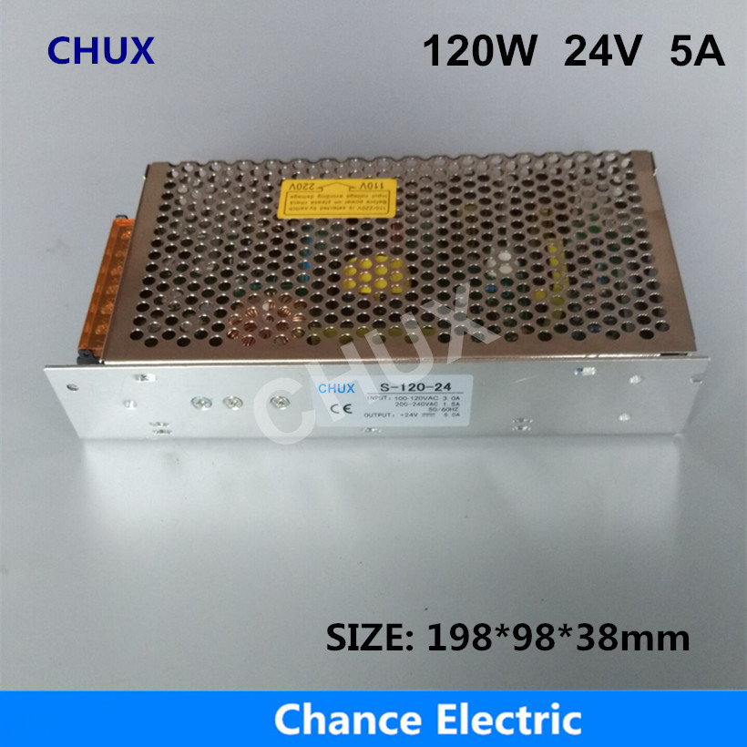 120W 24V Switching power supply 5A Single Output 220V Input  S-120W-24V for LED Strip light Regulate AC to DC Led Switch Power free shipping 35w 24v 1 5a single output mini size switching power supply for led strip light ms 35 24