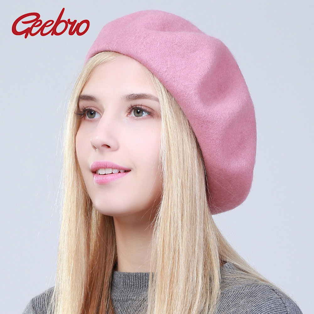 cc168686ea760 Detail Feedback Questions about Geebro Women s Cashmere Beret Hat Fashion  Solid Candy Color Warm Wool Berets for Women French Artist Beanie Beret Hats  for ...