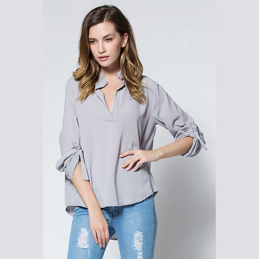 Nextmia Brand Fashion V Neck Long Sleeve Chiffon Spring Women T Shirts Girls Tops